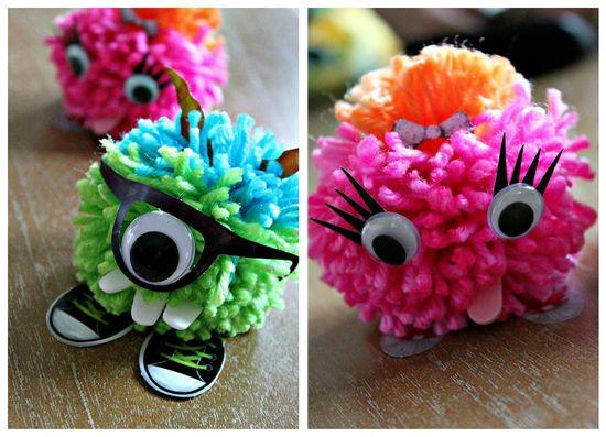 Colorful pom pom monsters craft