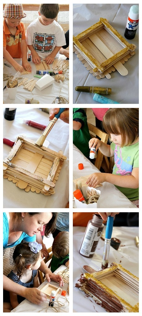 kids making popsicle stick bird feeders at a craft party