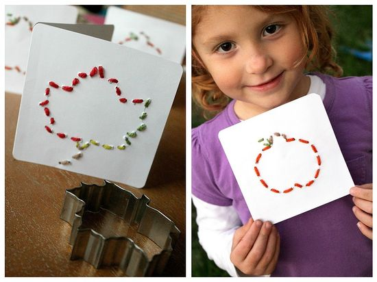 hand stitched fall pumpkin and leaf cards for kids to make