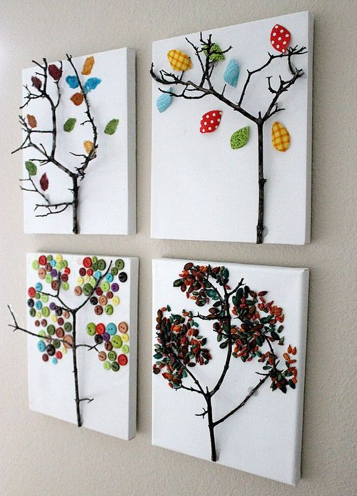 Four fall tree craft ideas for kids using seeds, buttons, paper, and thumbprints.