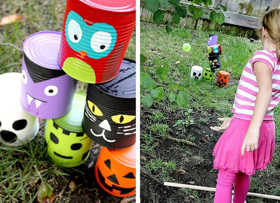 Halloween tin can toss game for kids.