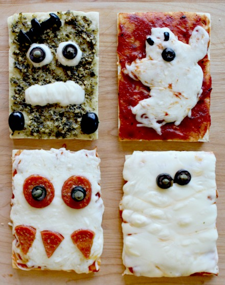Halloween pizza ideas including a monster, mummy, Frankenstein, and a ghost.