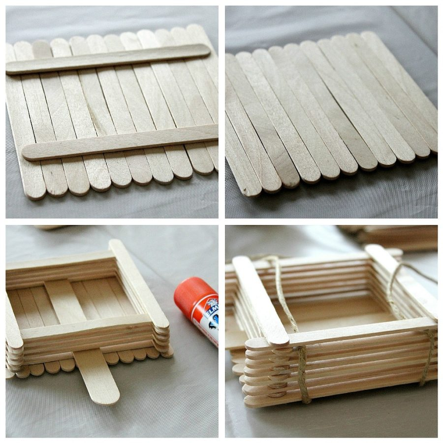 a collage of instructions to make a popsicle stick bird feeder