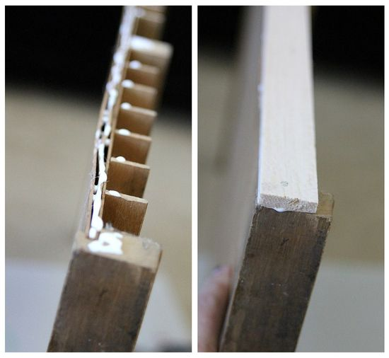 Adding a wood top to a printer's typeset drawer.