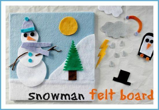 A DIY snowman felt board craft for winter