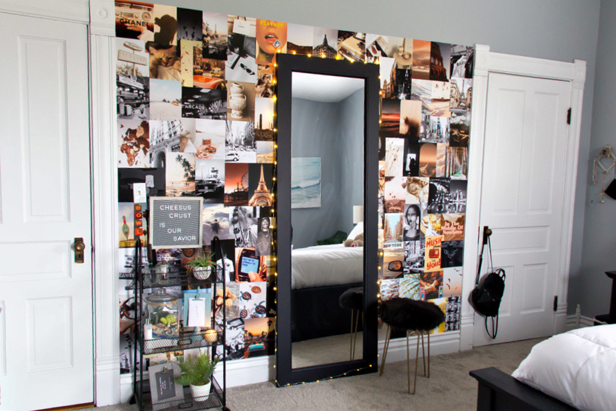 A wall collage in a teenage girls bedroom with a DIY standing mirror.