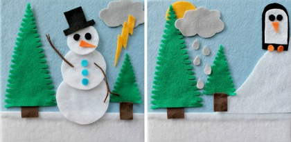 DIY felt boards with a snowman, trees, and penguin.